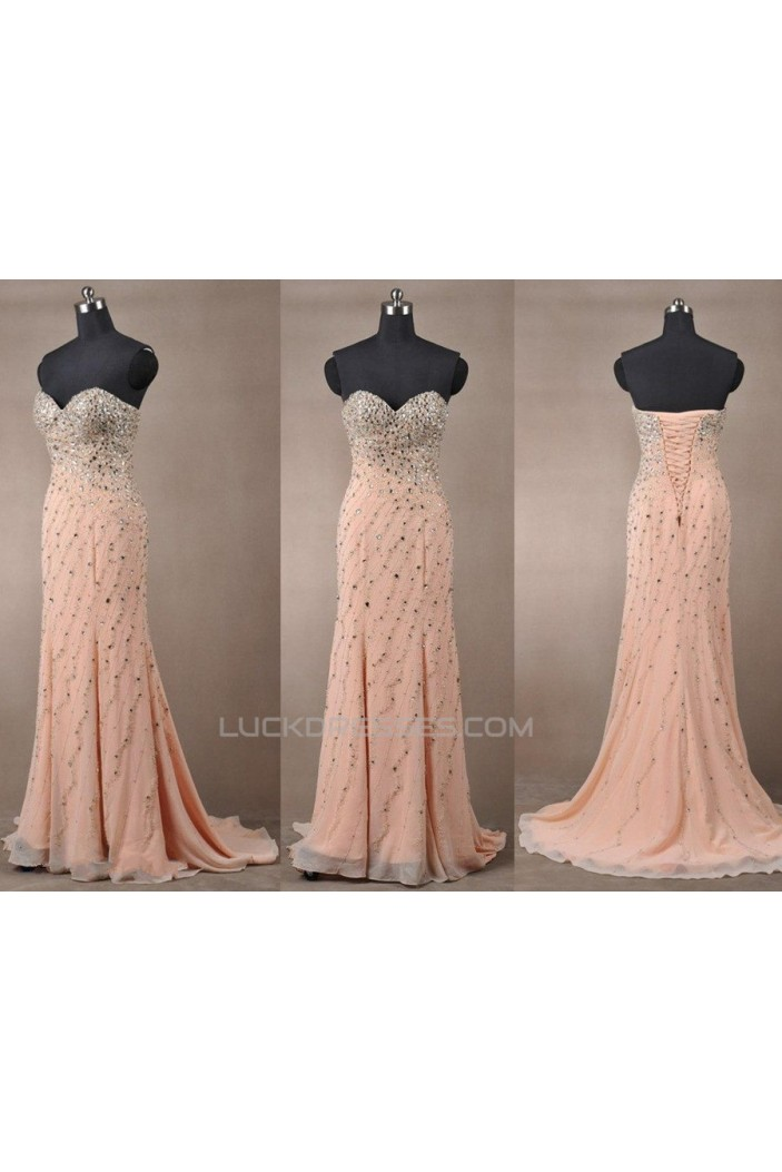 Beaded Sweetheart Long Chiffon Prom Evening Formal Dresses ED011084