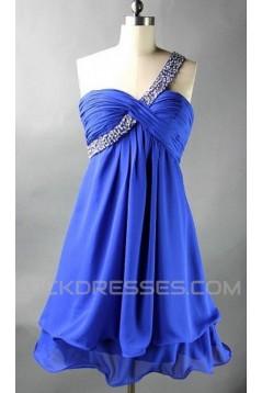 A-Line One-Shoulder Beaded Short Blue Chiffon Prom Evening Formal Dresses ED011087