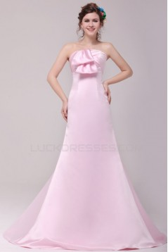 A-Line Strapless Long Pink Prom Evening Formal Party Dresses ED010109