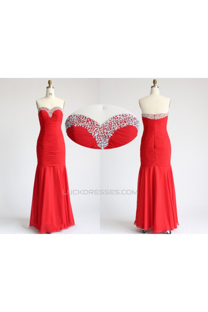 Sweetheart Long Red Beaded Chiffon Prom Evening Formal Dresses ED011091