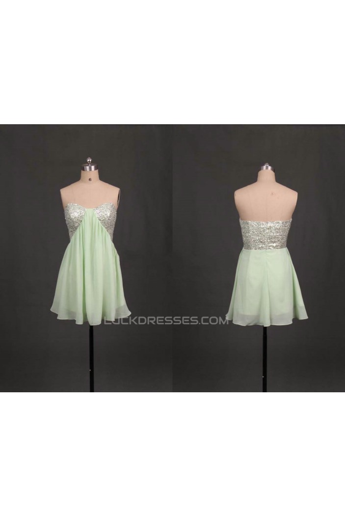 A-Line Sweetheart Sequins Short Chiffon Prom Evening Formal Dresses ED011092