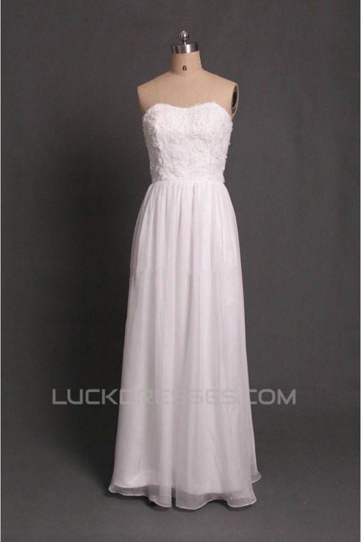 A-Line Strapless Long White Chiffon Prom Evening Formal Dresses ED011093