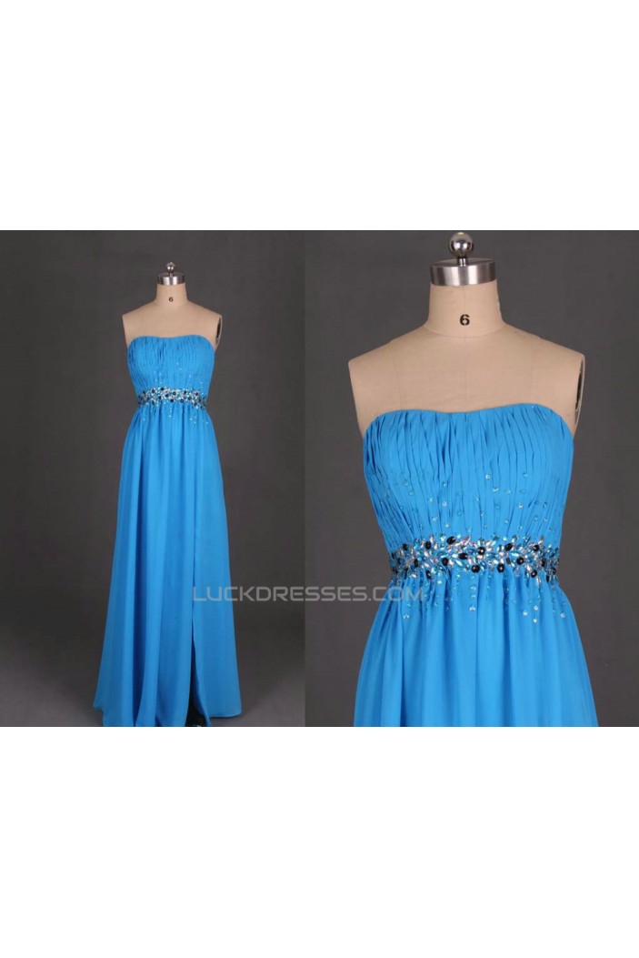 A-Line Strapless Beaded Long Blue Chiffon Prom Evening Formal Dresses ED011099
