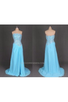 A-Line Strapless Beaded Long Chiffon Prom Evening Formal Dresses ED011100