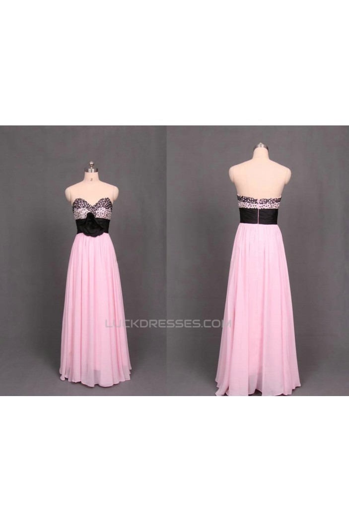 A-Line Sweetheart Beaded Long Black Pink Chiffon Prom Evening Formal Dresses ED011102