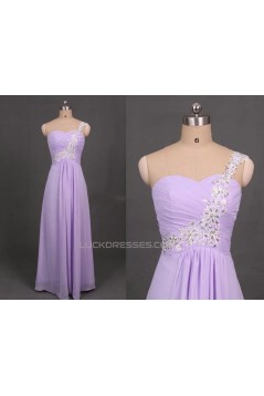 A-Line One-Shoulder Beaded Long Chiffon Prom Evening Formal Dresses ED011104