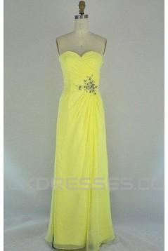 A-Line Sweetheart Beaded Long Yellow Chiffon Prom Evening Formal Dresses ED011105