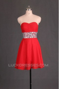 A-Line Sweetheart Beaded Short Red Chiffon Prom Evening Formal Dresses ED011106