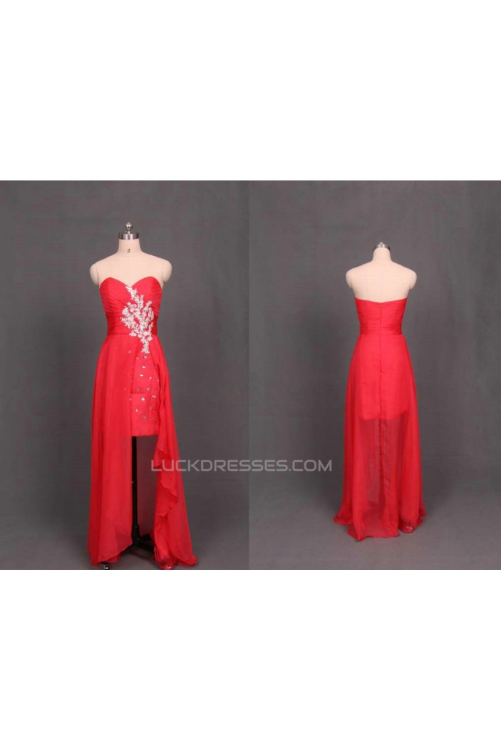 High Low Sweetheart Beaded Red Chiffon Prom Evening Formal Dresses ED011107