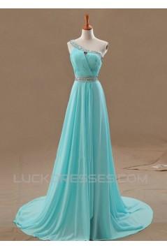 A-Line One-Shoulder Beaded Long Blue Chiffon Prom Evening Formal Dresses ED011108