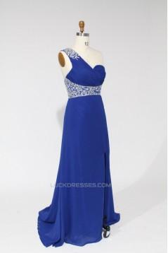 A-Line One-Shoulder Beaded Long Blue Chiffon Prom Evening Formal Dresses ED011111