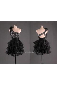 One-Shoulder Beaded Short Black Prom Evening Cocktail Dresses ED011112