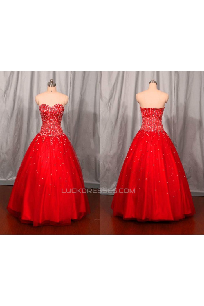 A-Line Sweetheart Beaded Long Red Prom Evening Formal Dresses ED011113