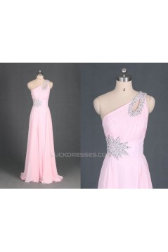 A-Line One-Shoulder Beaded Long Pink Chiffon Prom Evening Formal Dresses ED011114