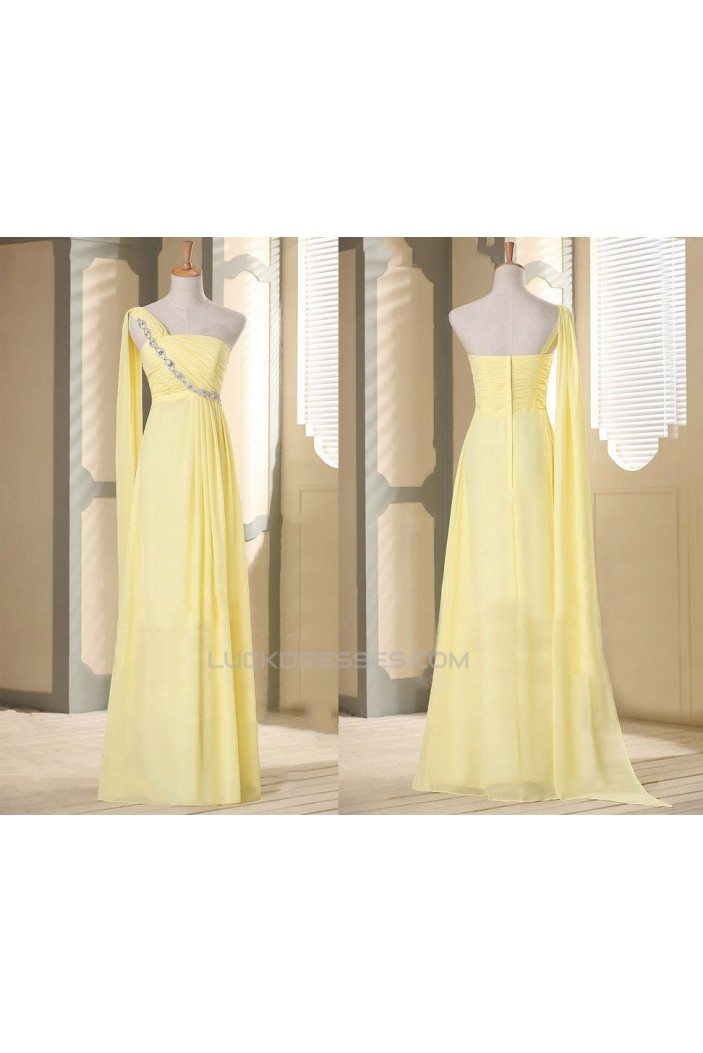 A-Line One-Shoulder Beaded Long Yellow Chiffon Prom Evening Formal Dresses ED011115