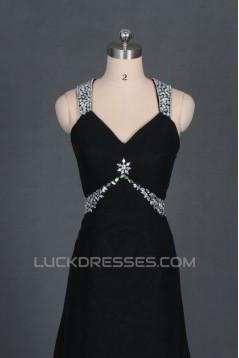 A-Line V-Neck Beaded Long Black Chiffon Prom Evening Formal Dresses ED011124