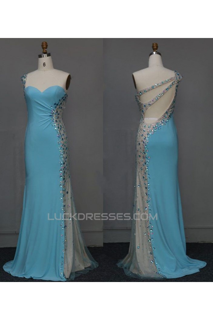 Sheath One-Shoulder Beaded Long Blue Chiffon Prom Evening Formal Dresses ED011125