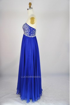 A-Line Sweetheart Beaded Long Blue Chiffon Prom Evening Formal Dresses ED011127