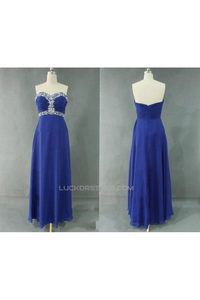 A-Line Sweetheart Beaded Long Blue Chiffon Prom Evening Formal Dresses ED011128