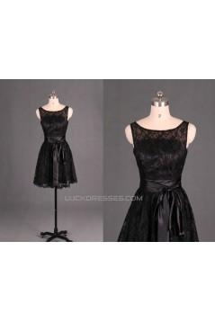 A-Line Short Black Lace Prom Evening Formal Bridesmaid Dresses ED011129
