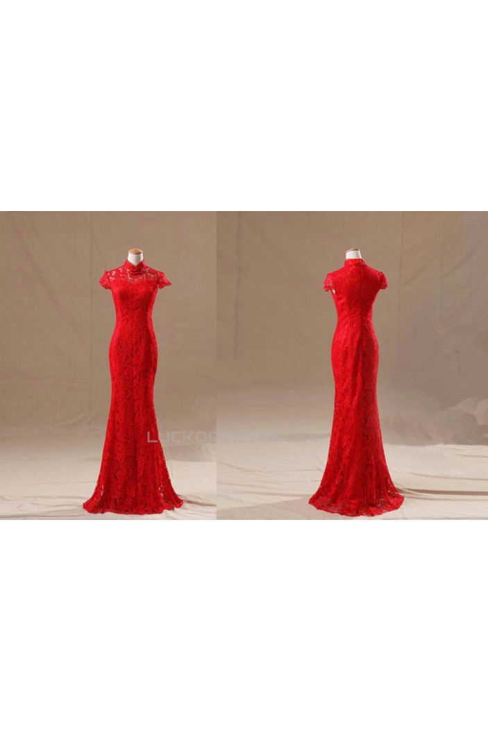 Trumpet/Mermaid High-Neck Long Red Lace Prom Evening Formal Dresses ED011130