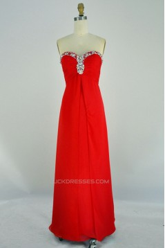 A-Line Sweetheart Beaded Long Red Chiffon Prom Evening Formal Dresses ED011132