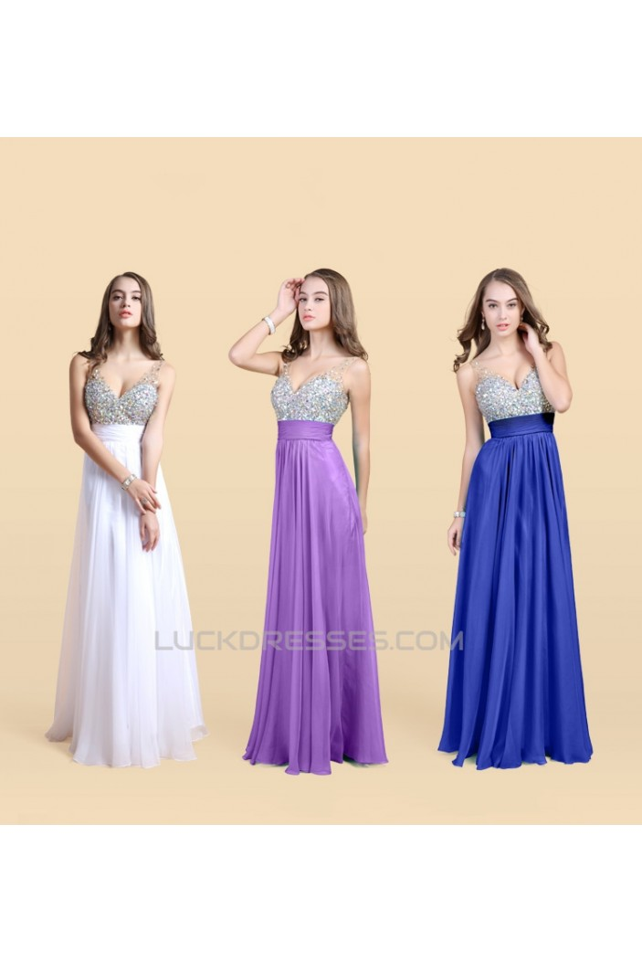 A-Line Straps Sleeveless Beaded Long Chiffon Prom Evening Formal Dresses ED011134