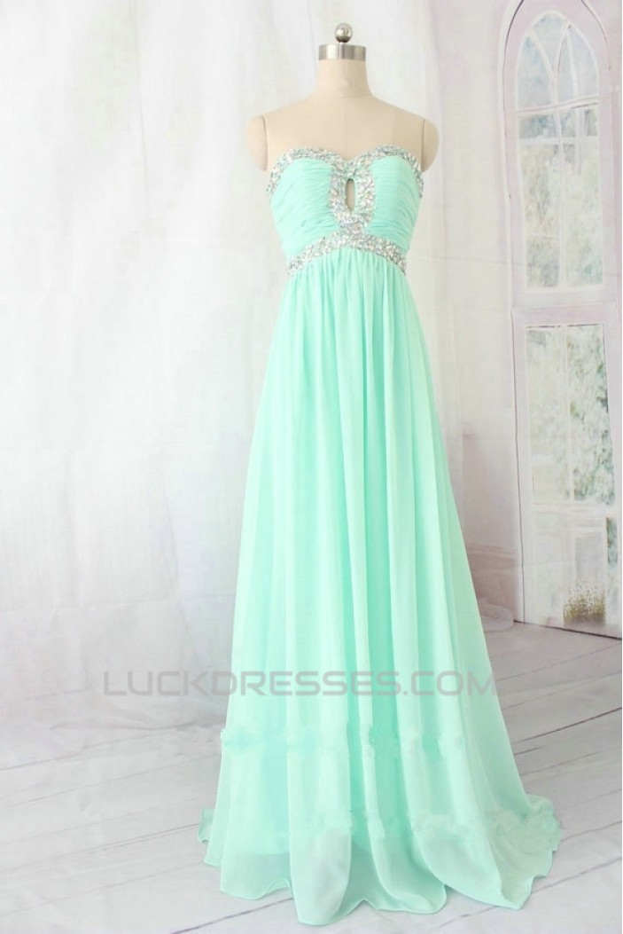 A-Line Sweetheart Beaded Long Chiffon Prom Evening Formal Dresses ED011135