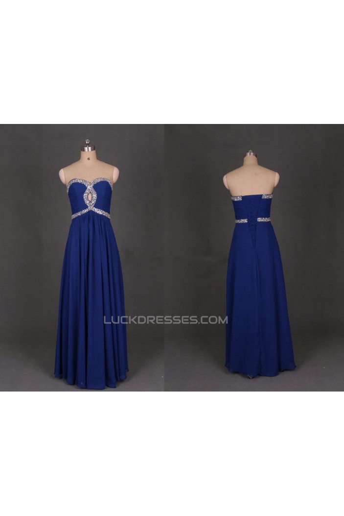 A-Line Sweetheart Beaded Long Blue Chiffon Prom Evening Formal Dresses ED011136
