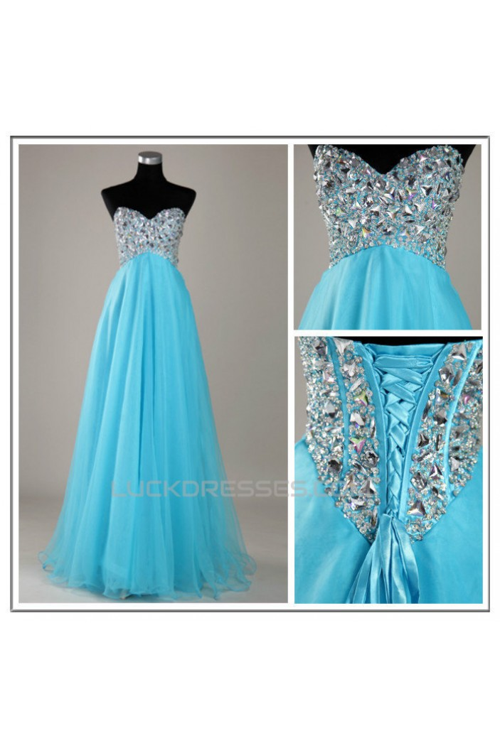 A-Line Sweetheart Beaded Long Blue Chiffon Prom Evening Formal Dresses ED011139