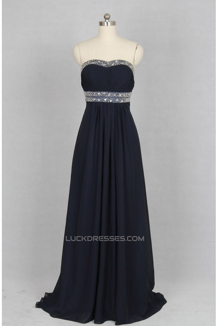 A-Line Strapless Beaded Long Chiffon Prom Evening Formal Dresses ED011141