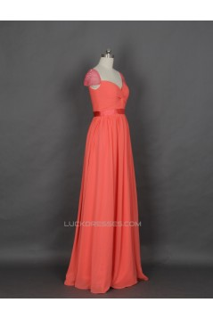 A-Line Cap-Sleeve Beaded Long Chiffon Prom Evening Formal Dresses ED011142