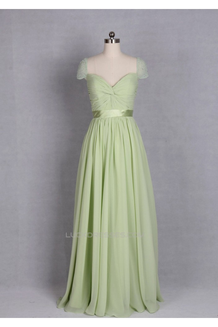 A-Line Cap-Sleeve Beaded Long Chiffon Prom Evening Formal Dresses ED011143