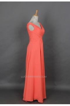 A-Line V-Neck Long Chiffon Prom Evening Formal Dresses ED011146