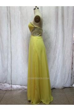 A-Line Sweetheart Beaded Long Yellow Chiffon Prom Evening Formal Dresses ED011147