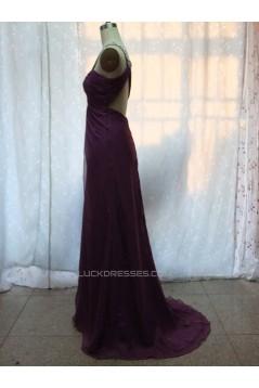 Empire One-Shoulder Beaded Long Chiffon Prom Evening Formal Dresses ED011149