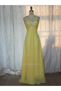 A-Line One-Shoulder Beaded Long Yellow Chiffon Prom Evening Formal Dresses ED011150