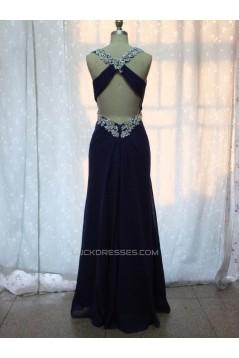 Sheath Beaded Long Blue Chiffon Prom Evening Formal Dresses ED011151
