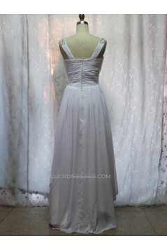 A-Line V-Neck Beaded Long White Chiffon Prom Evening Formal Dresses ED011152