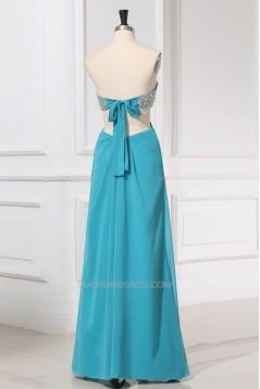 A-Line Sweetheart Beaded Long Blue Chiffon Prom Evening Formal Dresses ED011159