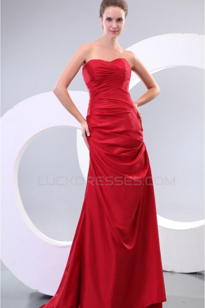 A-Line Sweetheart Long Red Prom Evening Formal Party Dresses ED010116