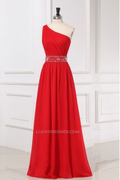 A-Line One-Shoulder Beaded Long Red Chiffon Prom Evening Formal Dresses ED011160