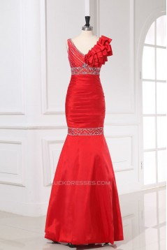 Trumpet/Mermaid One-Shoulder Beaded Long Red Prom Evening Formal Dresses ED011161