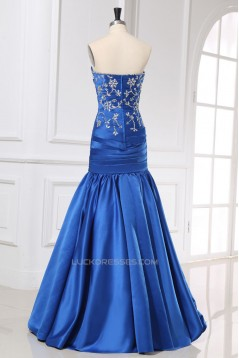 Trumpet/Mermaid Sweetheart Beaded Long Blue Prom Evening Formal Dresses ED011162