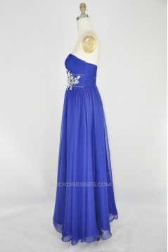 A-Line Sweetheart Beaded Long Blue Chiffon Prom Evening Formal Dresses ED011164