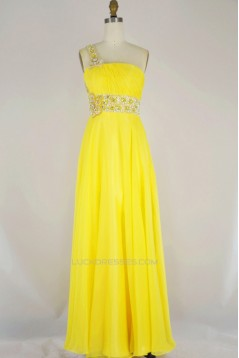 A-Line One-Shoulder Beaded Long Yellow Chiffon Prom Evening Formal Dresses ED011165