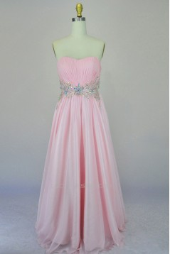 A-Line Sweetheart Beaded Long Pink Chiffon Prom Evening Formal Dresses ED011166
