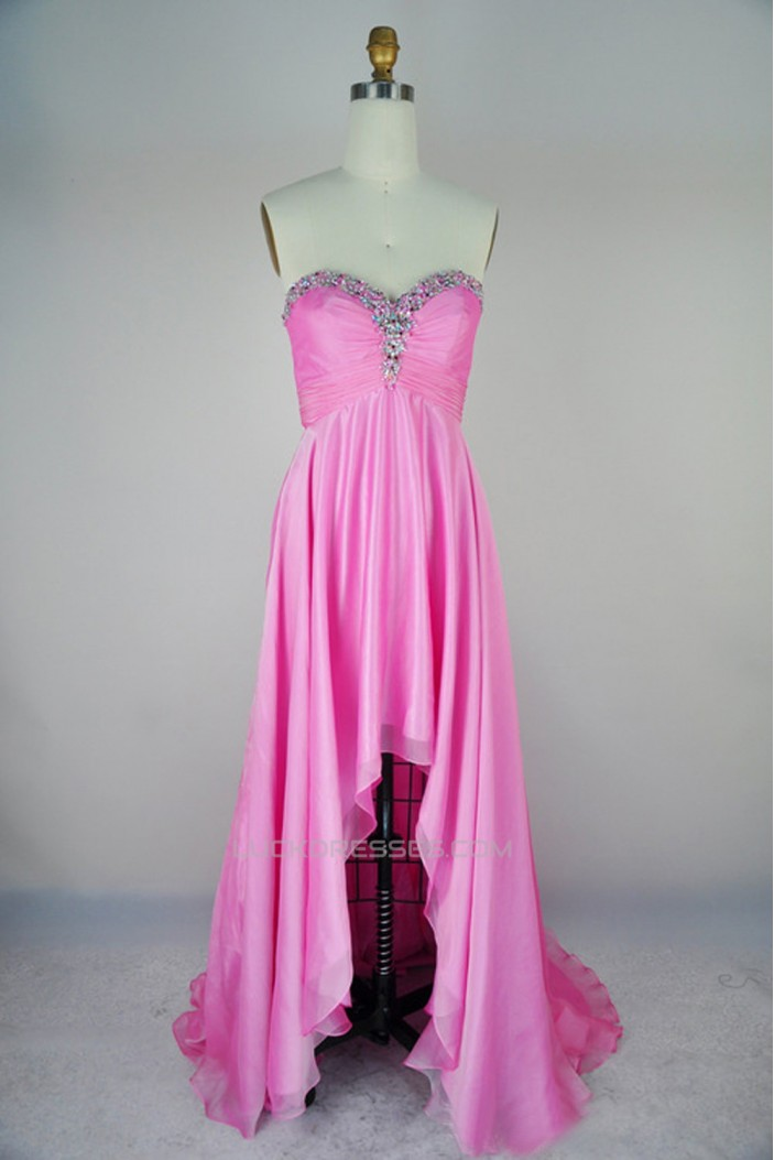 High Low Sweetheart Beaded Pink Chiffon Prom Evening Formal Dresses ED011167