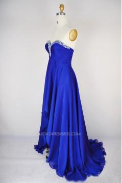 High Low Sweetheart Beaded Blue Chiffon Prom Evening Formal Dresses ED011168