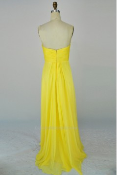 A-Line Sweetheart Beaded Long Yellow Chiffon Prom Evening Formal Dresses ED011169